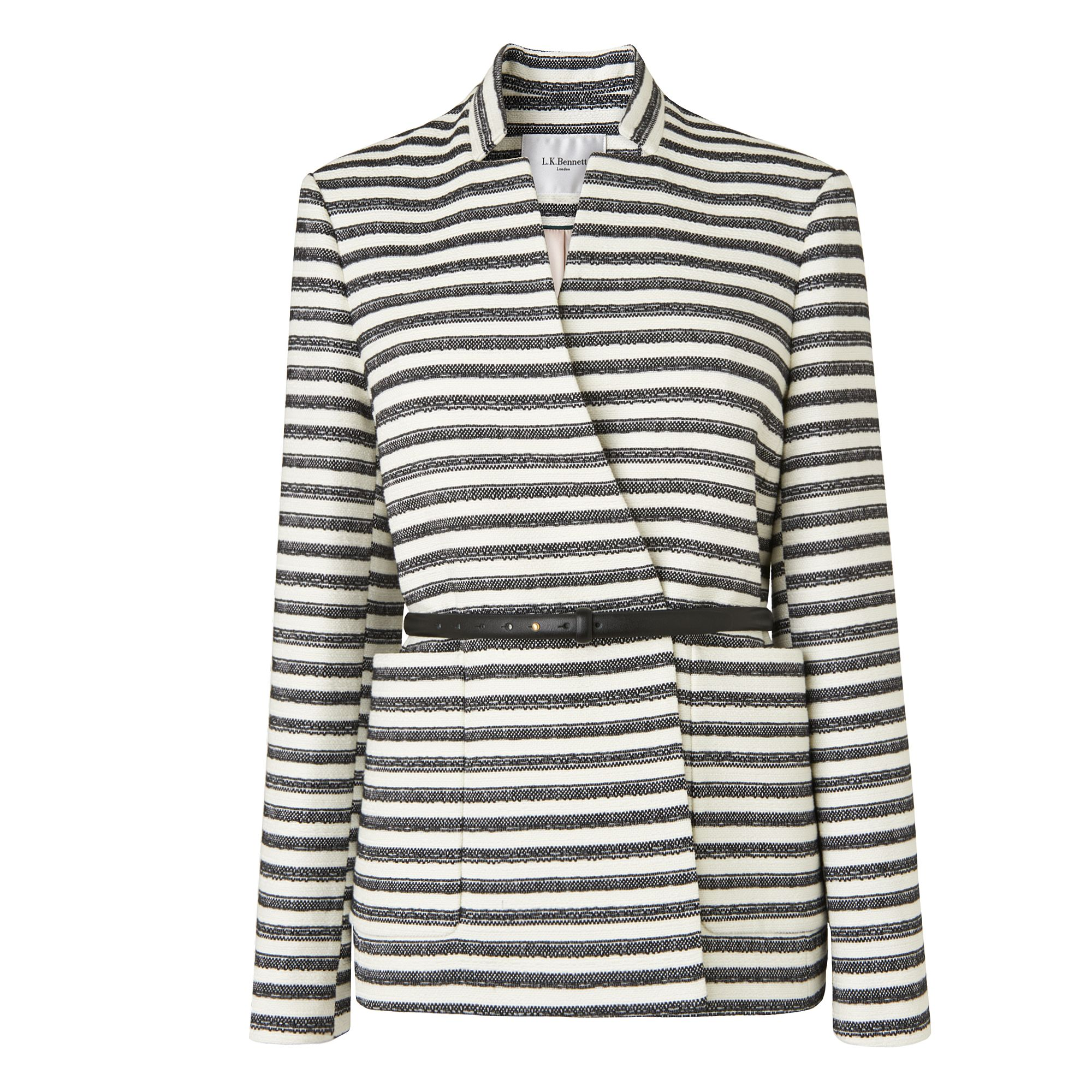 L.K. Bennett Cora Monochrome Stripe Jacket, Multi-Coloured