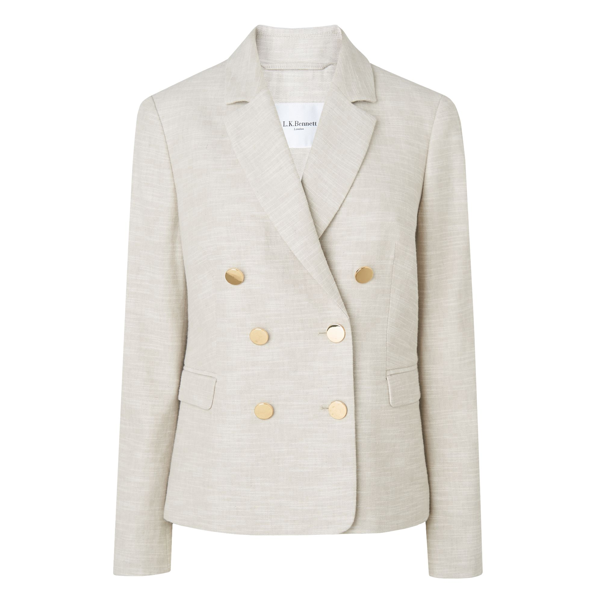 L.K. Bennett Nixie Linen Jacket, Grey