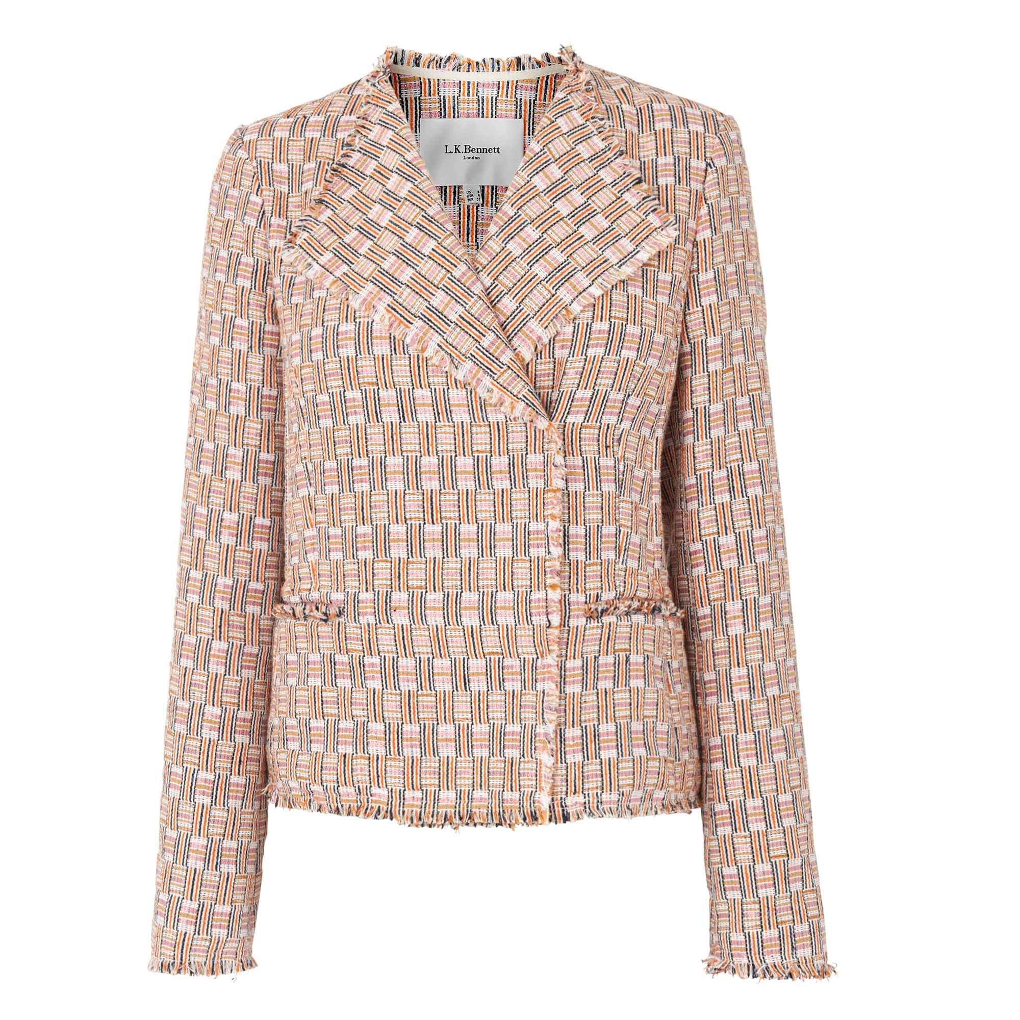 L.K. Bennett Heather Block Tweed Jackets, Pink