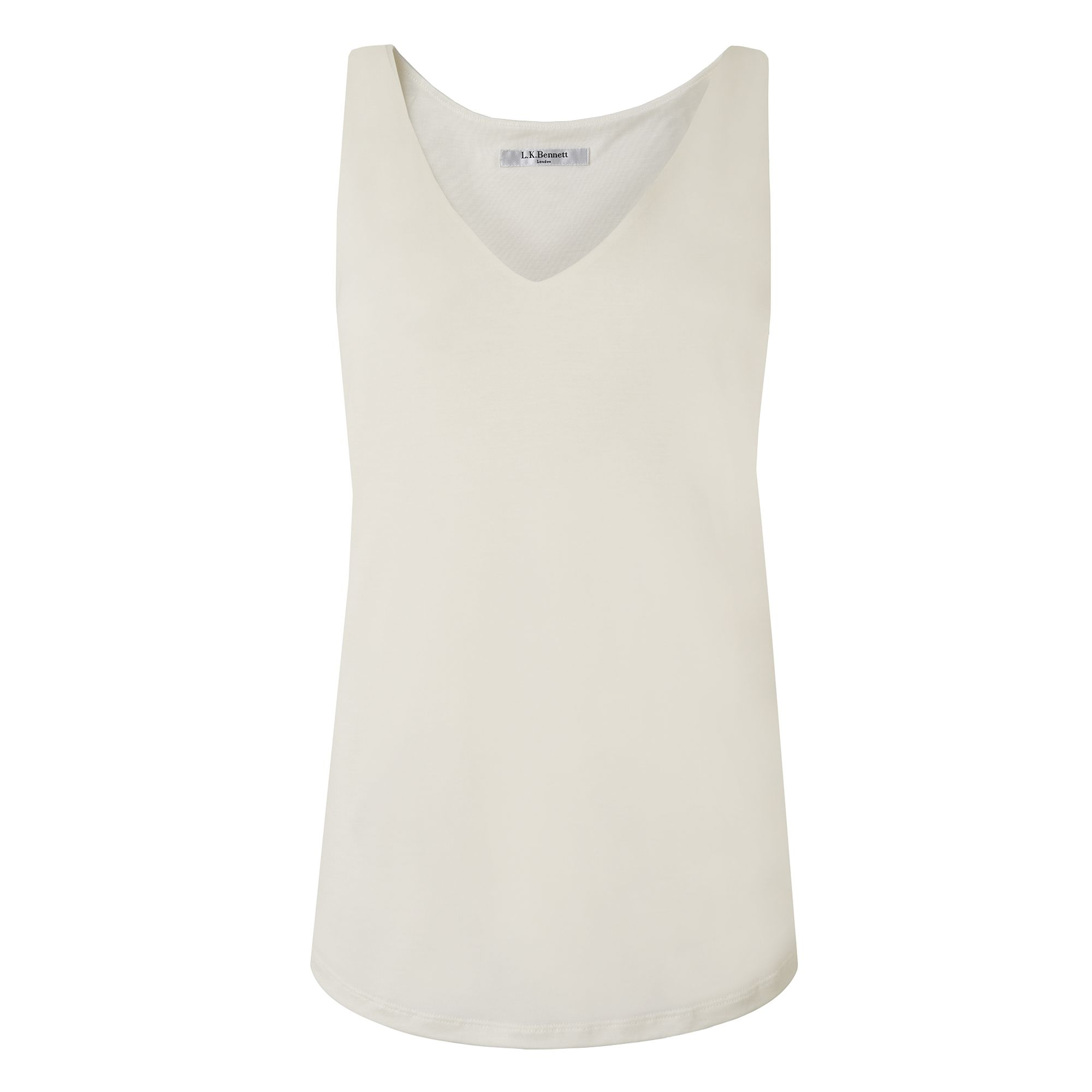 L.K. Bennett Ada Sleeveless V Neck Jersey Tops, Cream