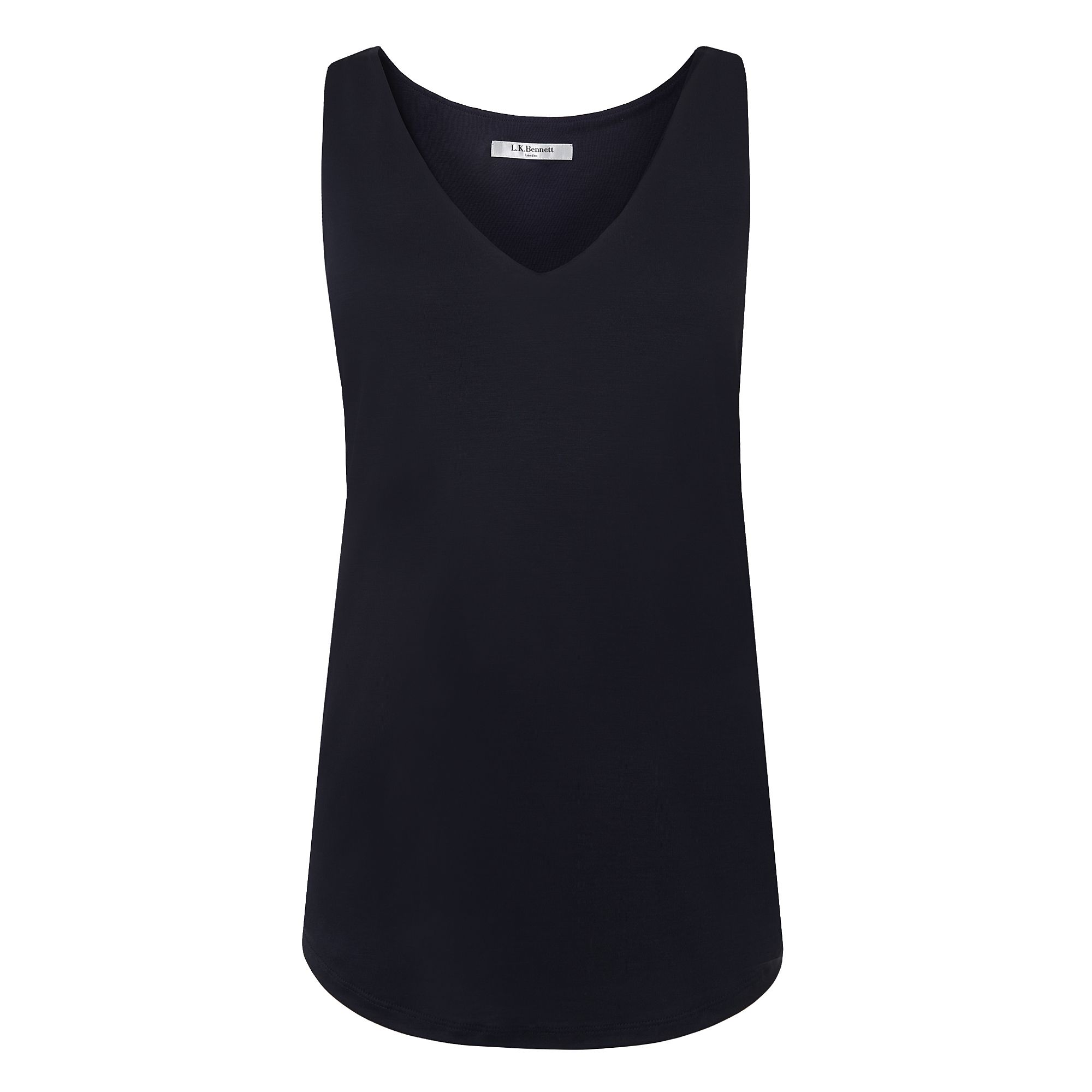 L.K. Bennett Ada Sleeveless V Neck Jersey Tops, Blue