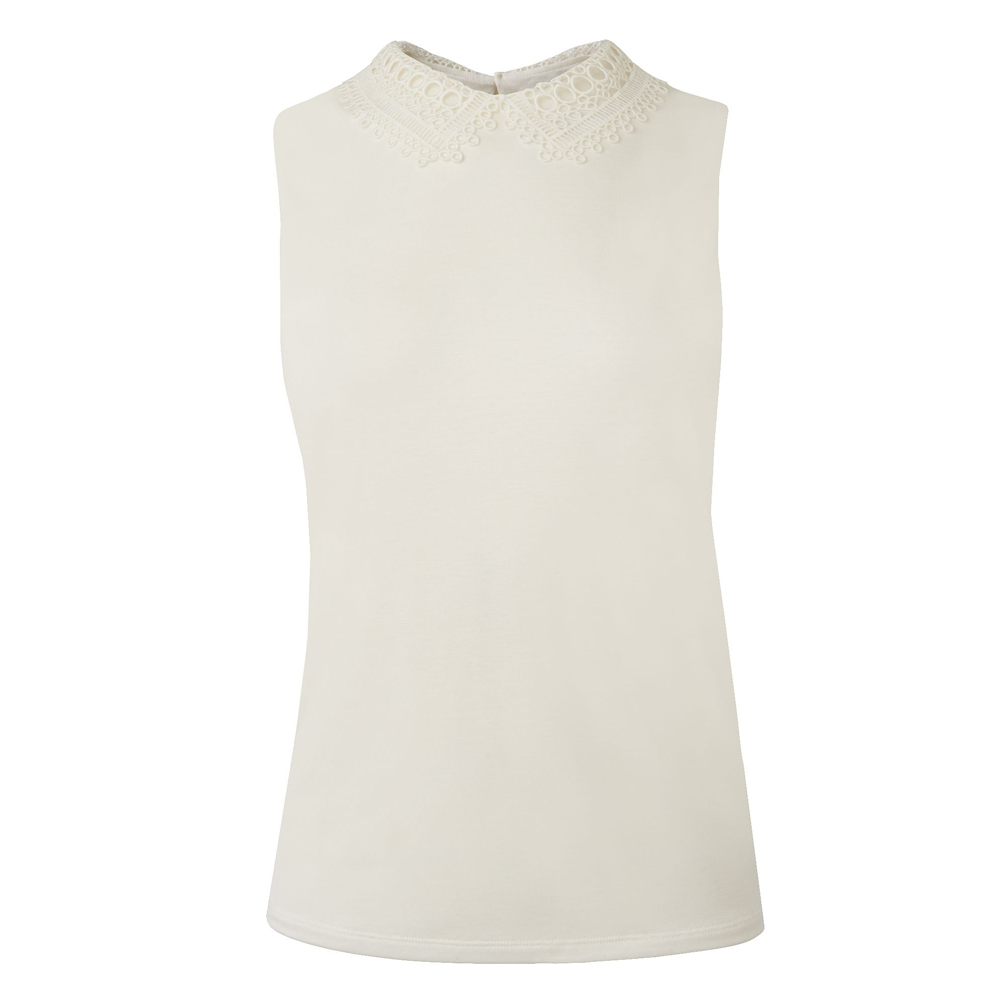 L.K. Bennett Bella Lace Collar Jersey Tops, Cream