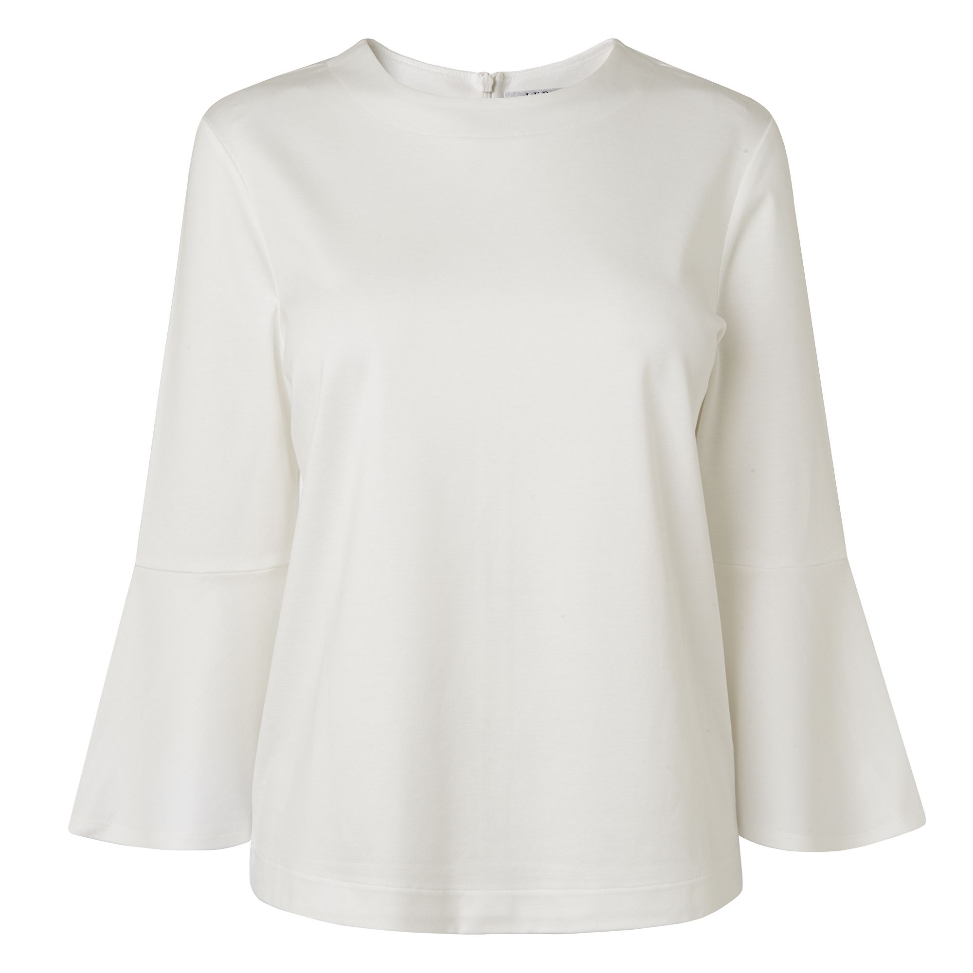 L.K. Bennett Leon Fluted Sleeve Top, White