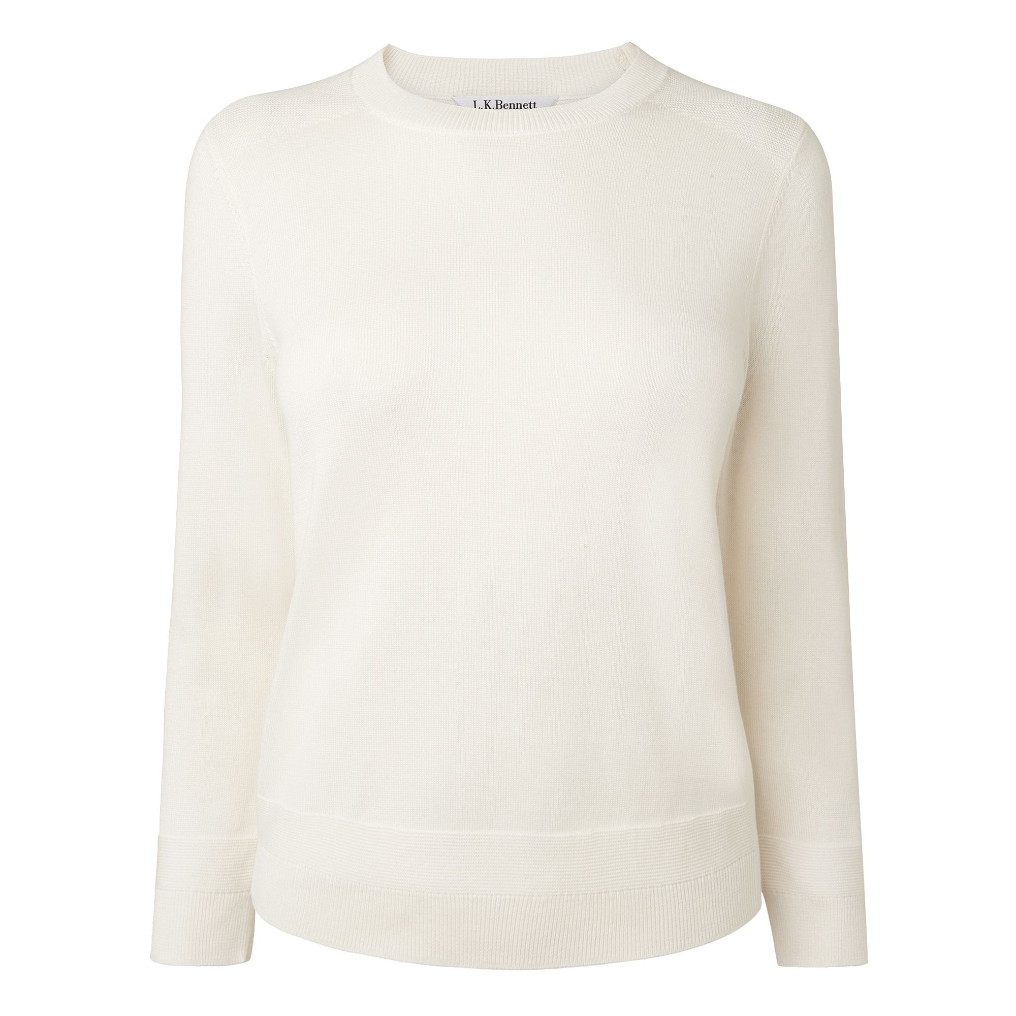 L.K. Bennett Maisy Silk Cotton Knitted Tops, Cream
