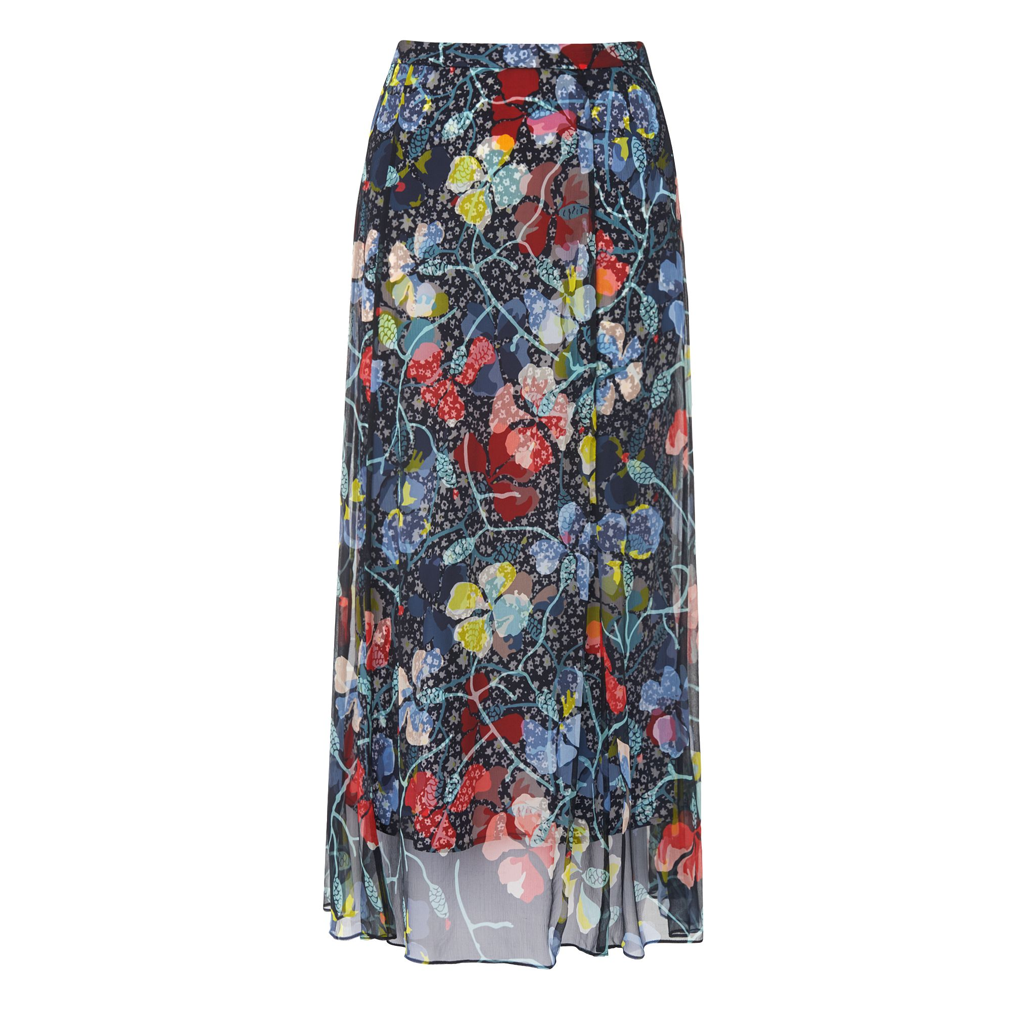 L.K. Bennett Phia Long Soft Print Skirts, Multi-Coloured