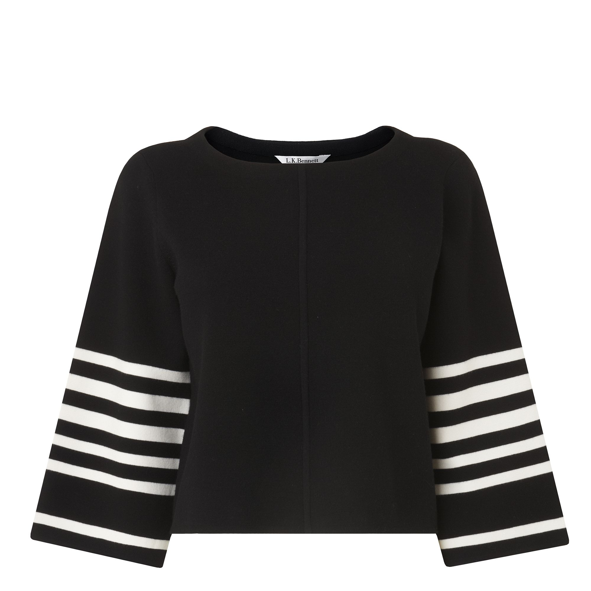 L.K. Bennett Langley Stripe Sleeve Knitted Top, Black