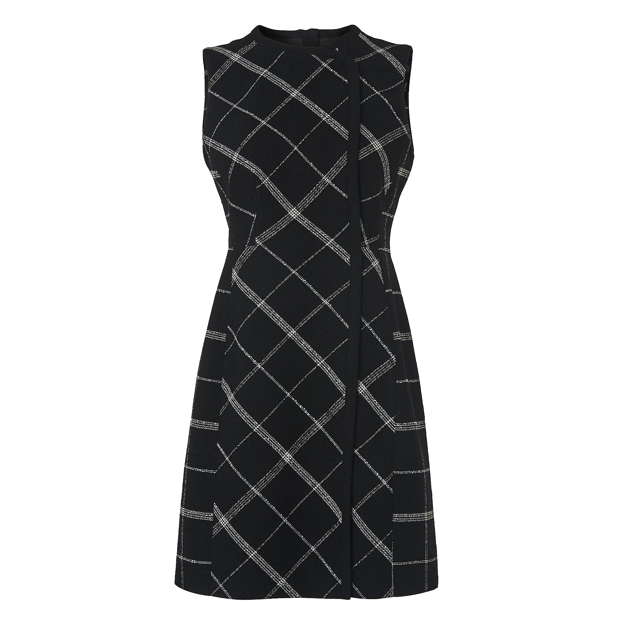 L.K. Bennett Zuri Black Check Wool Mix Dress, Black Multi