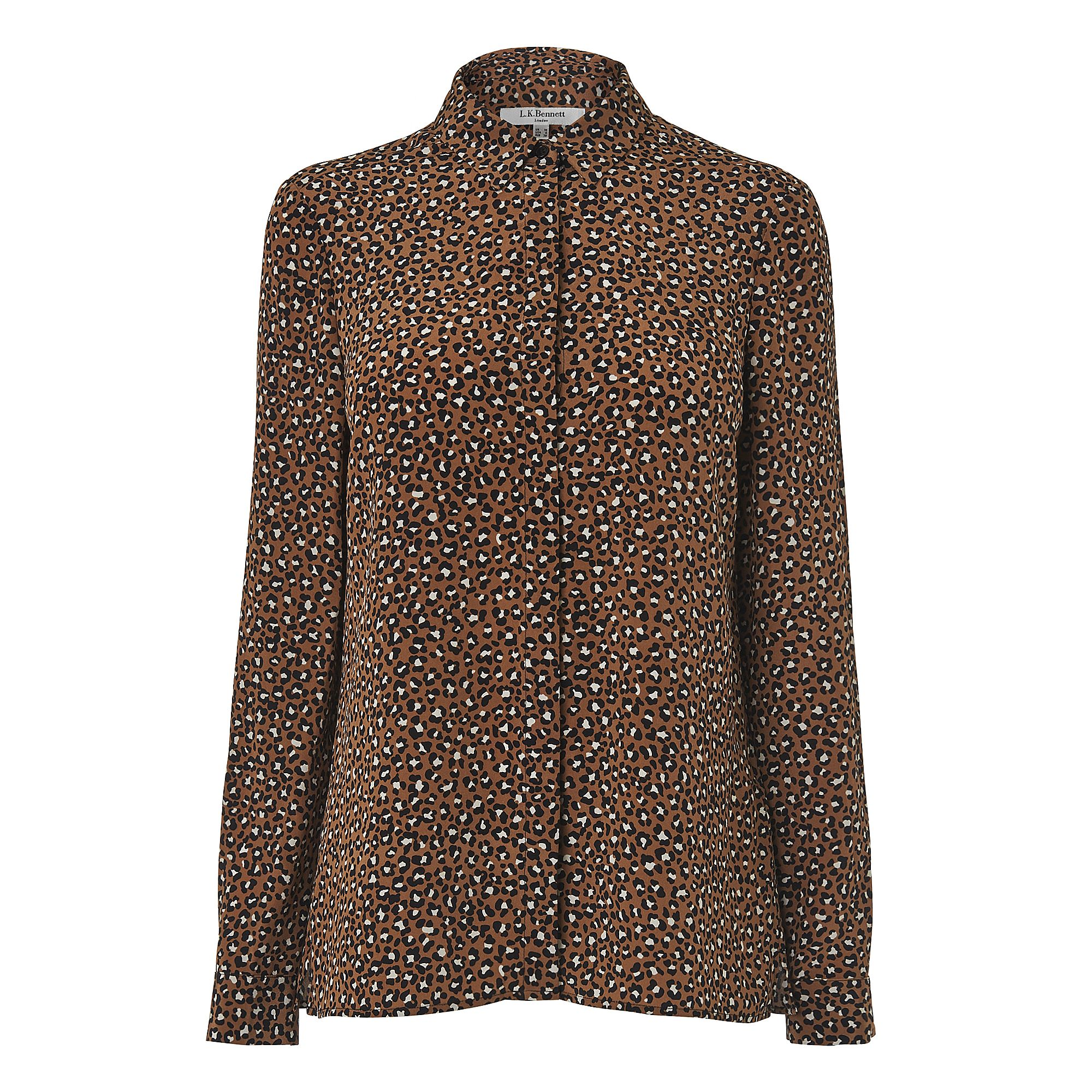 L.K. Bennett Carine Animal Print Silk Top, Multi-Coloured