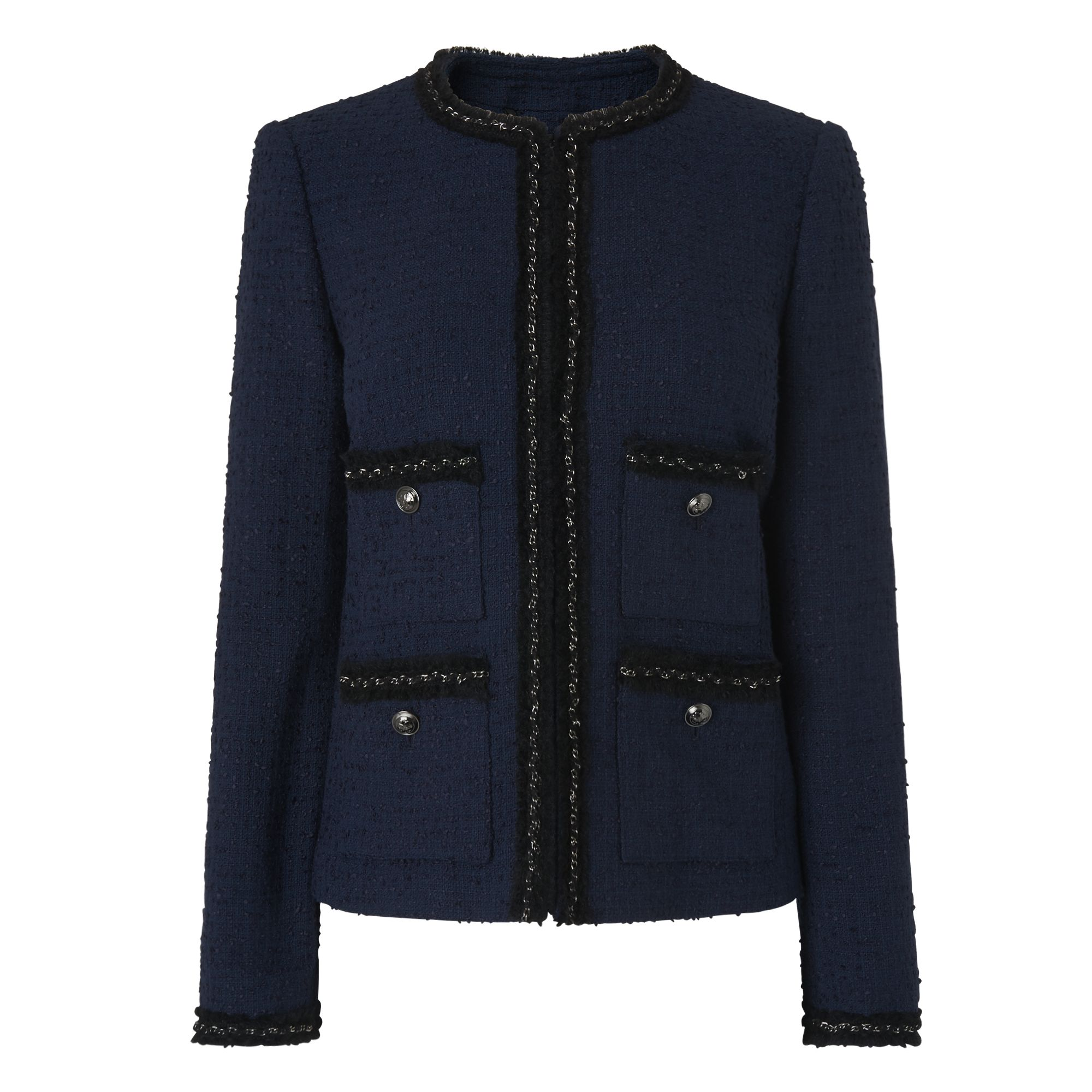L.K. Bennett Halyna Trim Tweed Jacket, Blue