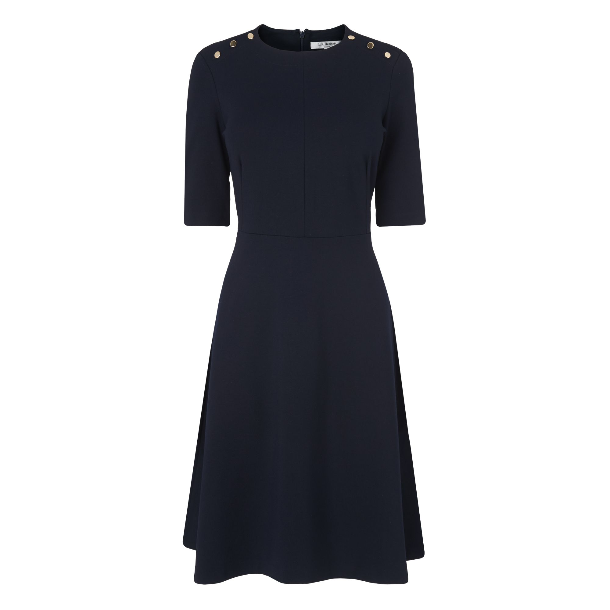 L.K. Bennett Casey Button Ponte Dress, Blue