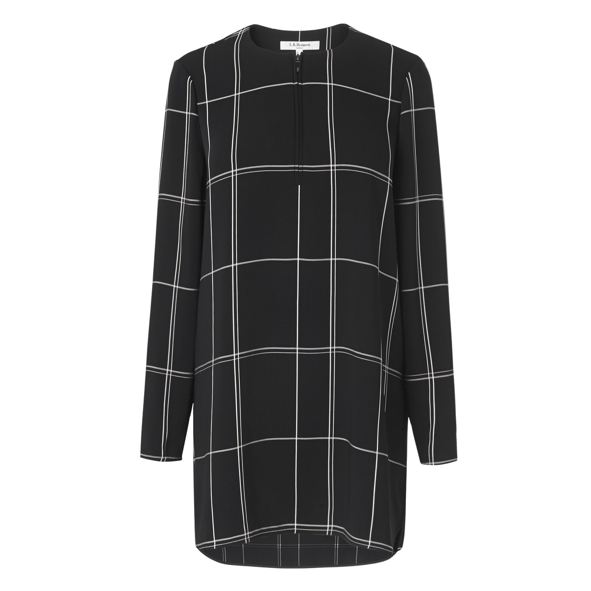 L.K. Bennett Dinah Black Check Tunic Top, Black