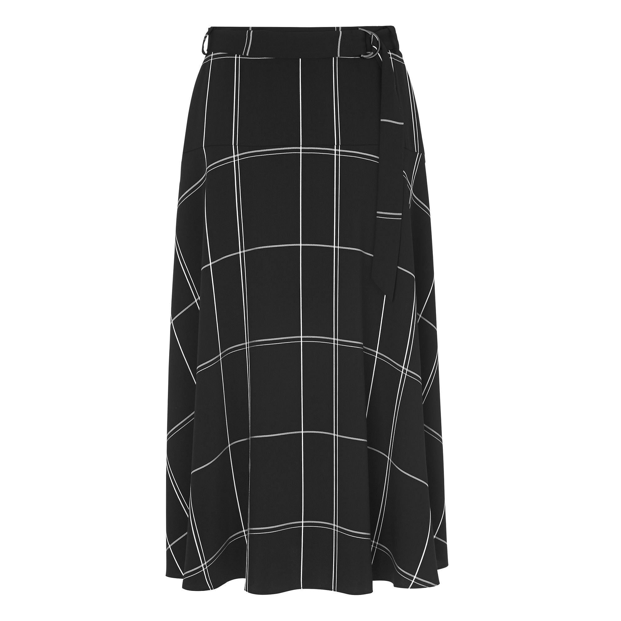 L.K. Bennett Dinah Black Check Skirt, Black
