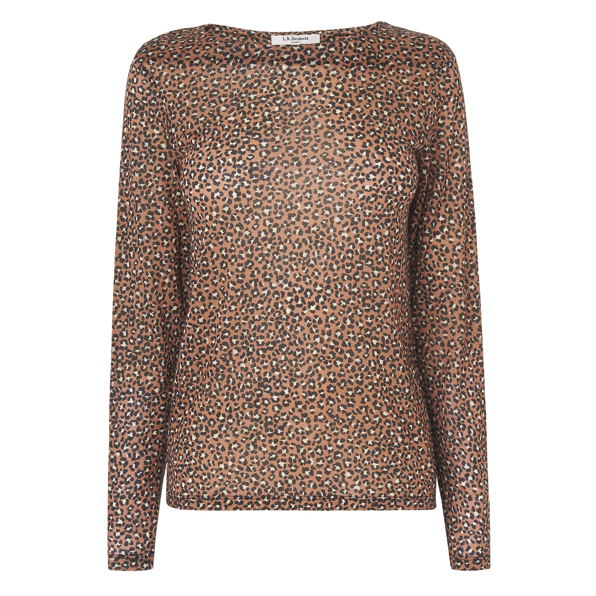 L.K. Bennett Electra Animal Print Wool Top, Multi-Coloured