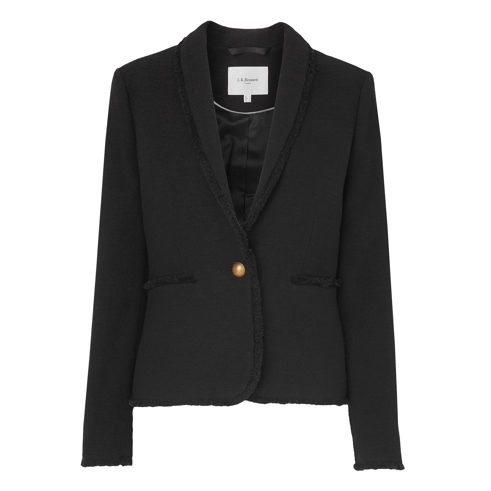 L.K. Bennett Shippa Black Tweed Jacket, Black