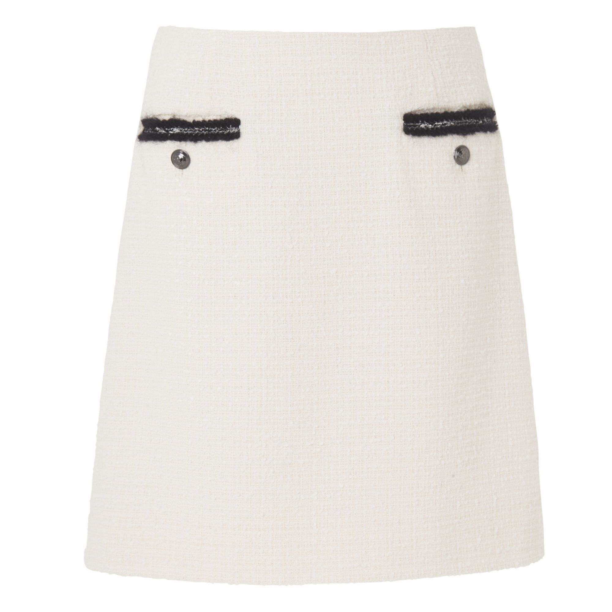 L.K. Bennett Charl Black Tweed Skirt, Cream