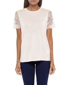 Ted Baker Somsrii Woven sheer lace sleeved top