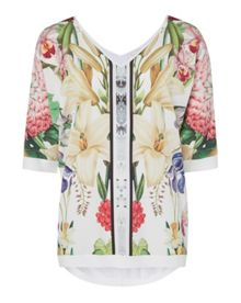 Ted Baker Saidy Encyclopaedia floral V-neck top