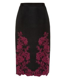 Ted Baker Valari Embroidered mesh lace skirt
