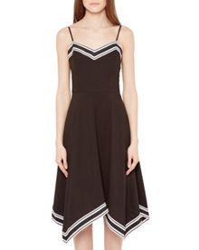 Ted Baker Kahmen Striped asymmetric hem dress