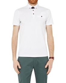 Ted Baker Trarnce Leaf Print Cotton Polo Shirt