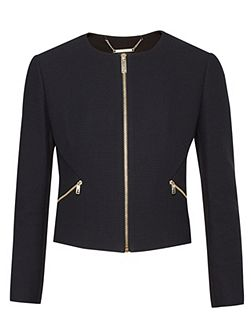 Halis Cropped textured gathered jacket