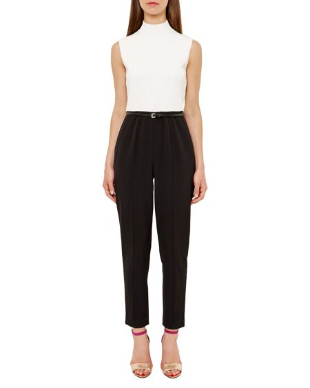 Ted Baker Maciie High Neck Ribbed Jumpsuit