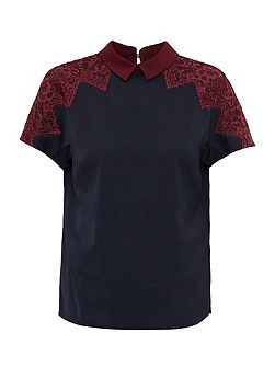 Quintaa Lace Trim Collared Top
