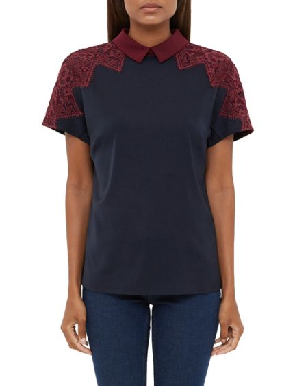 Ted Baker Quintaa Lace Trim Collared Top