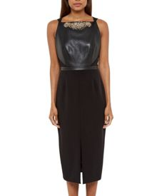 Ted Baker Kimla Leather Panel Embellished Dress