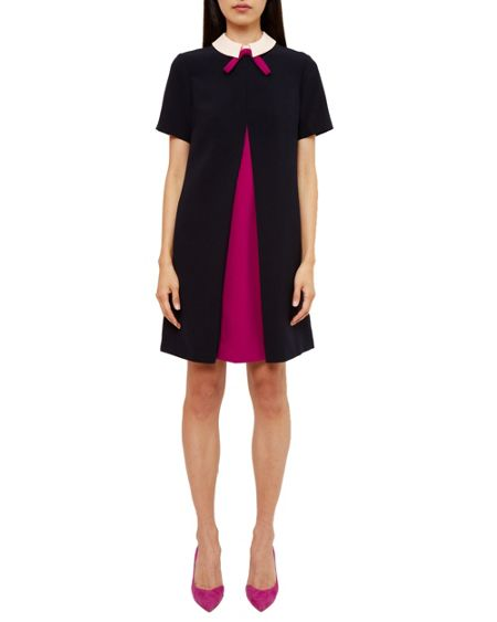 Ted Baker Wonce Contrast Pleat Bow Tunic Dress