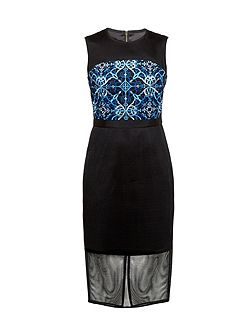 Kyha Mesh Embroidered Midi Dress