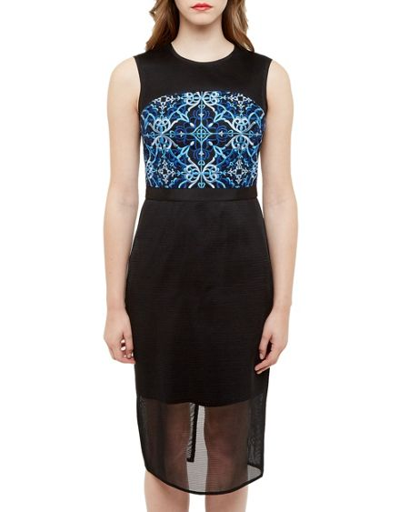 Ted Baker Kyha Mesh Embroidered Midi Dress
