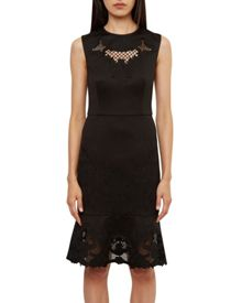 Ted Baker Chrysa Embroidered Frill Hem Dress