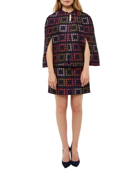 Ted Baker Kee Horticultural Checked Jacquard Cape
