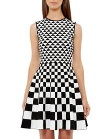 Ted Baker Lowrel Monochrome Geo Skater Dress