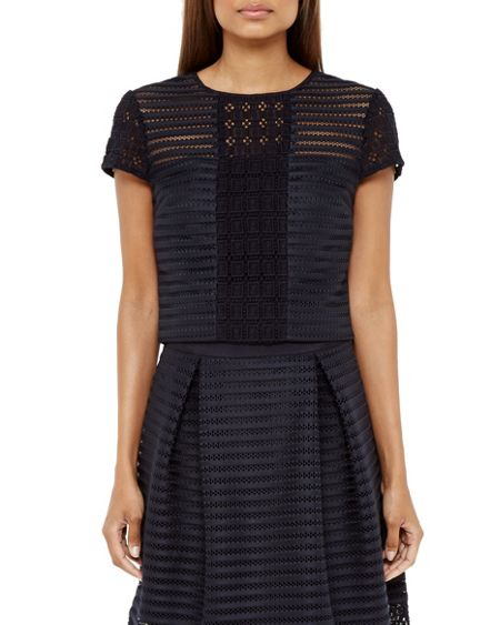 Ted Baker Lukah Sheer Panel Cropped Top
