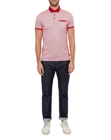 Ted Baker Rokit Geo print cotton polo shirt