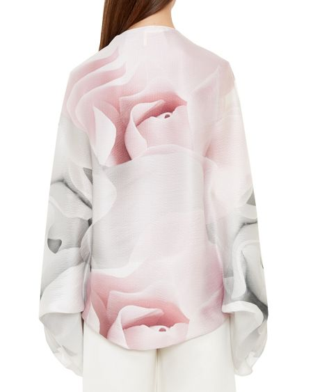 Ted Baker Mayes Porcelain Rose Silk Cape Scarf