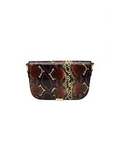 Melaney Metallic Bar Leather Shoulder Bag