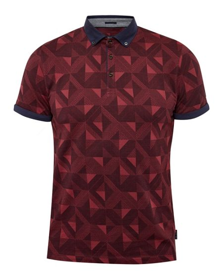 Ted Baker Guido Geo print cotton polo shirt