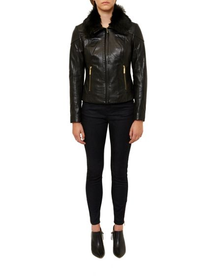 Ted Baker Cleva Shearling collar leather jacket