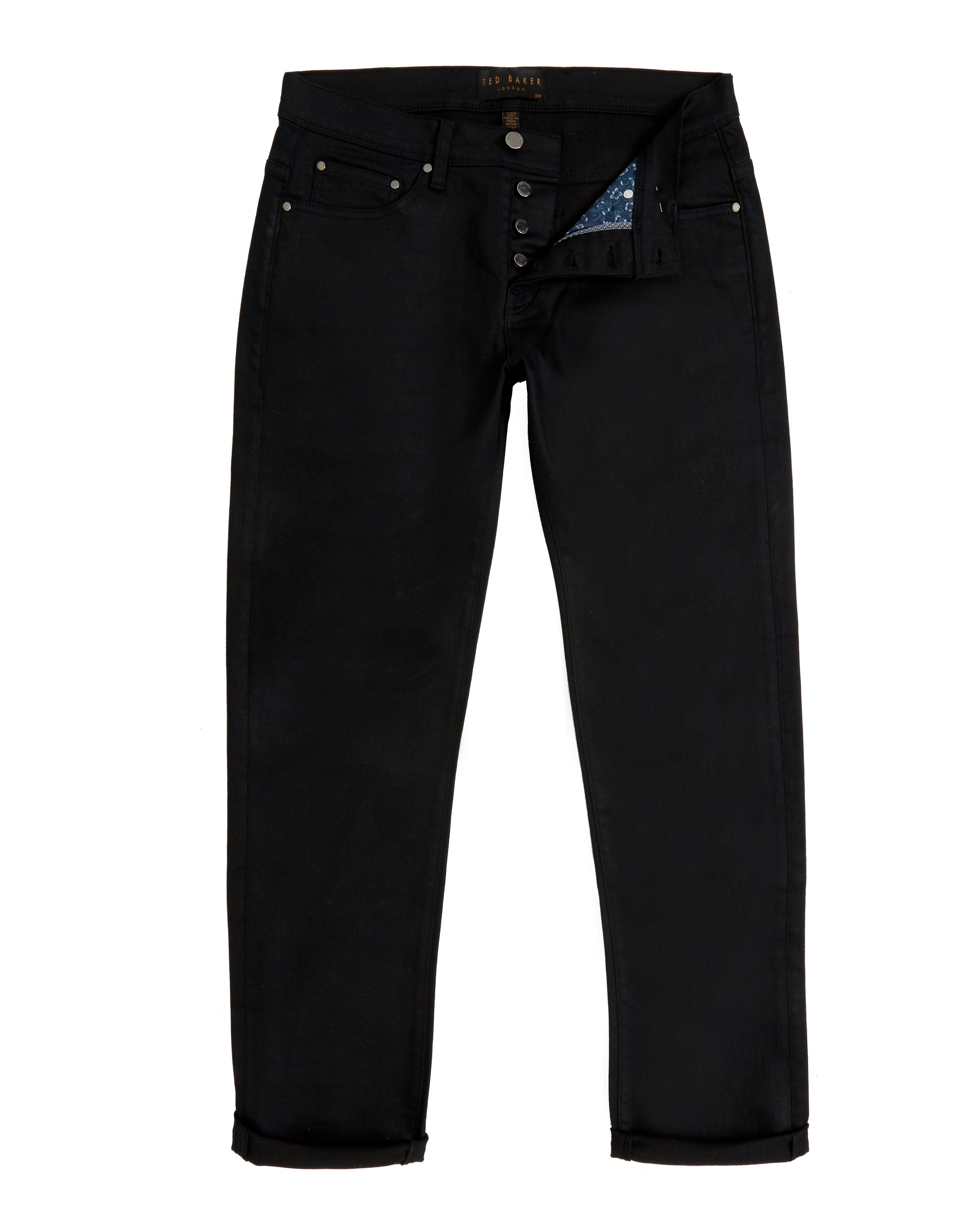 Mens Ted Baker Sam Straight Fit Rinse Wash Jeans Black