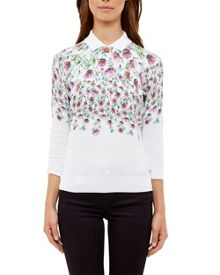 Ted Baker Karn Thistle Print Collared Jumper