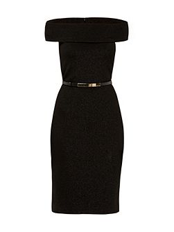 Vindy Sparkle Bardot bodycon midi dress