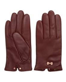 Ted Baker Avia Metallic Bow Leather Gloves