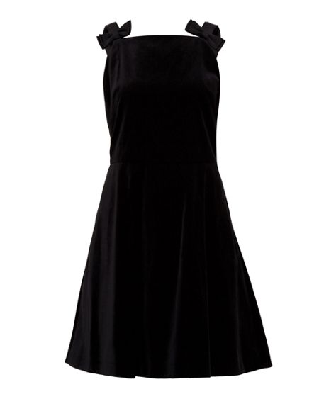 Ted Baker Louweez Bow Strap Velvet Skater Dress