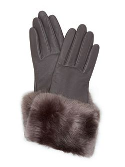 Emree Faux fur cuff leather gloves