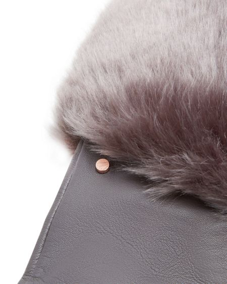Ted Baker Emree Faux Fur Cuff Leather Gloves