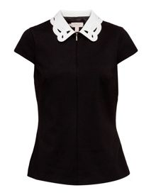 Ted Baker Quilina Embroidered collar zip top