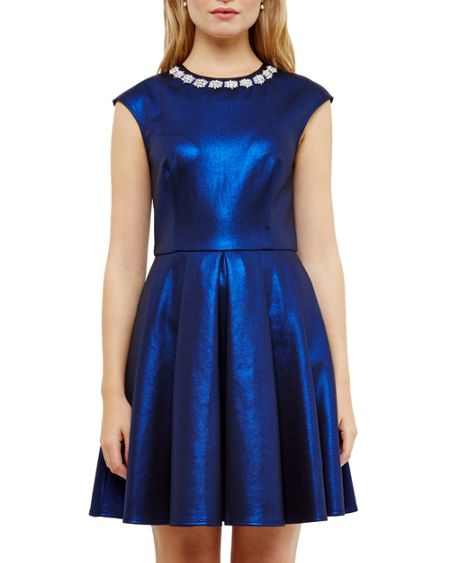 Ted Baker Ayma Embellished neckline skater dress